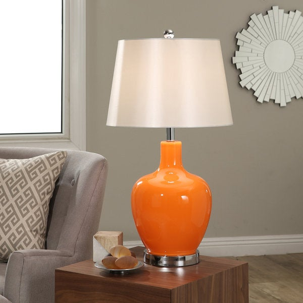 Abbyson Faremont Orange Glass Table Lamp