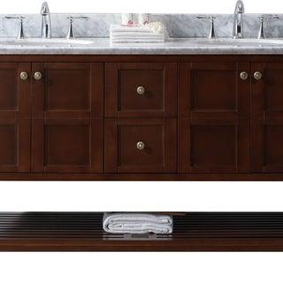 Virtu USA Winterfell 60-inch Round White Marble Double Bathroom Vanity Set