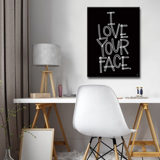 Ink Letter Love 'I Love Your Face' Textual Canvas Art