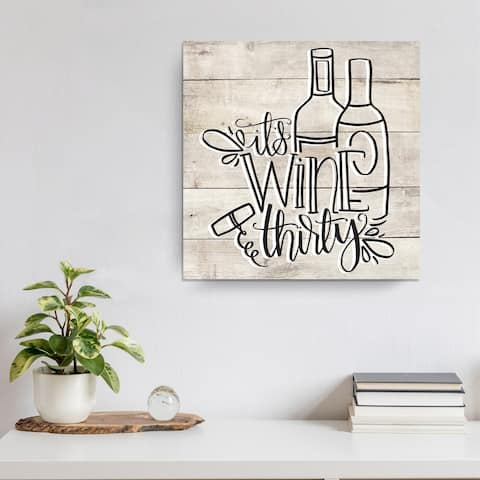 Ink Letter Love 'Wine Thirty' Textual Canvas Art