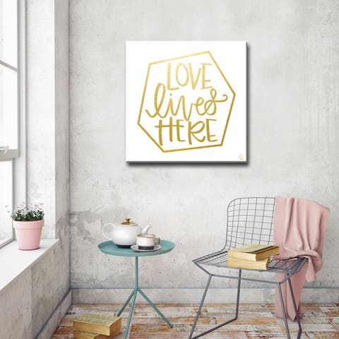 Ink Letter Love 'Love Lives Here' Textual Canvas Art