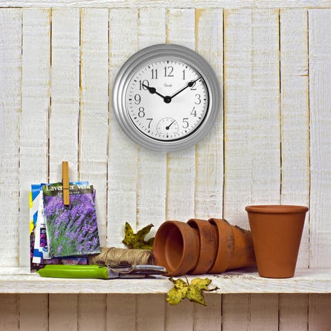 Equity by La Crosse 29007 8 Inch In/Out Thermometer Metallic Silver Wall Clock