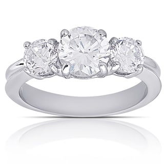 Dolce Giavonna Silver Overlay Cubic Zirconia Three Stone Engagement Ring