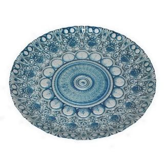 Benzara Blue and Silver Glass 12-inch Plate