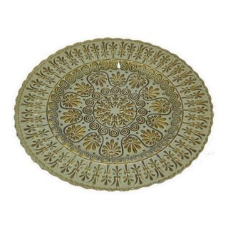 Benzara Green and Golden Glass 12-inch Plate