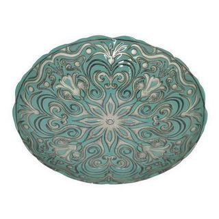 Benzara Green and Silver Glass 12-inch Plate