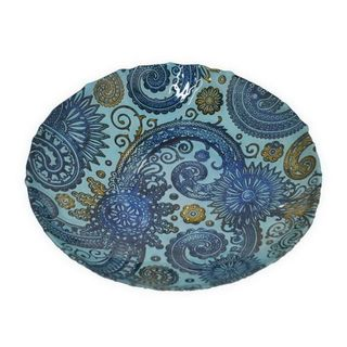 Benzara Blue and Golden Glass 12-inch Plate