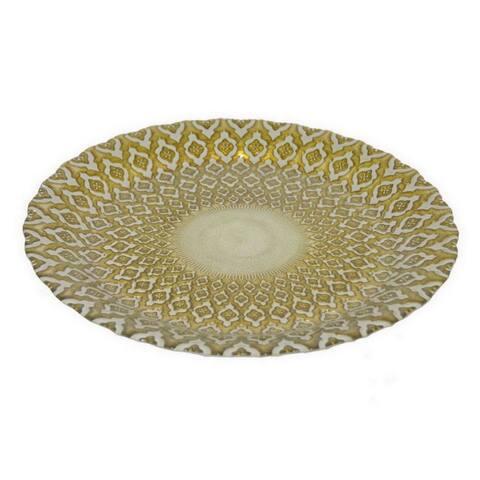 Benzara Golden Glass 12.75-inch Plate