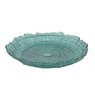 Benzara Teal Glass 15.5-inch Textured Round Plate