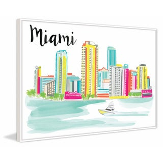 Marmont Hill - 'Miami Skyline' by Molly Rosner Floater Framed Painting Print on Canvas