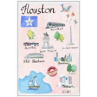 Marmont Hill - 'Houston Icons' Floater Framed Painting Print on Canvas