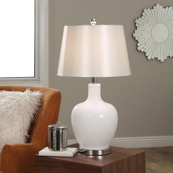Abbyson Faremont White Glass Table Lamp