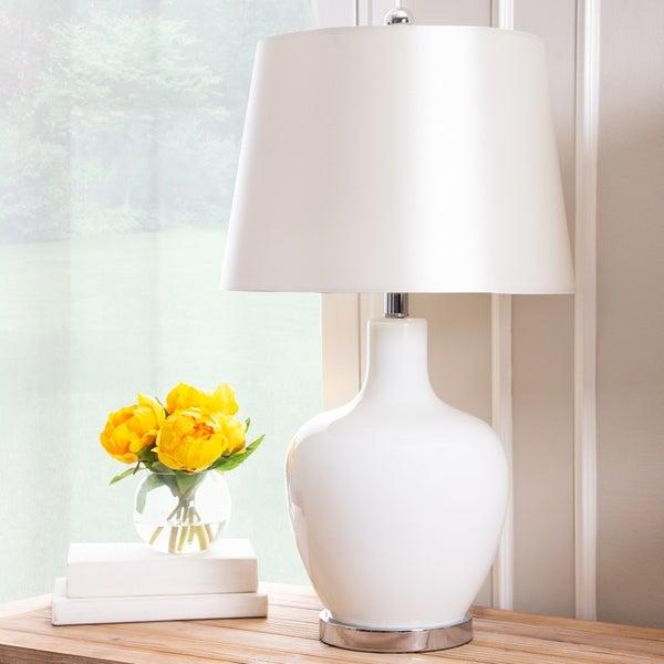 Abbyson Faremont White Glass 24-inch Table Lamp