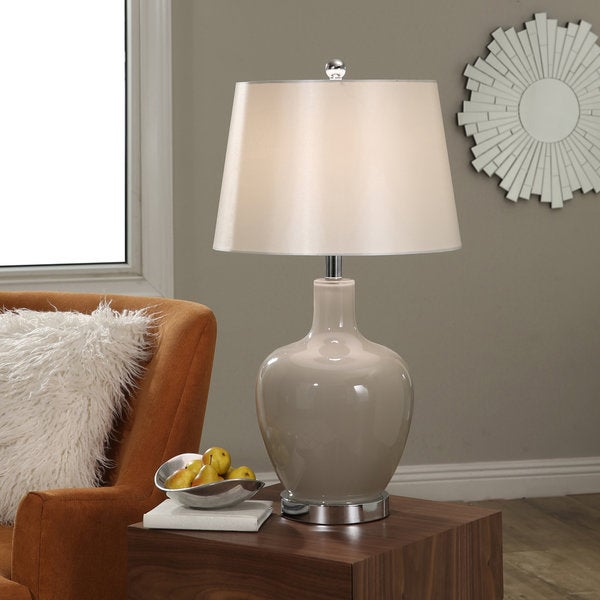 Abbyson Faremont Grey Glass Table Lamp