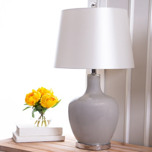 Abbyson Faremont Grey Glass 24-inch Table Lamp