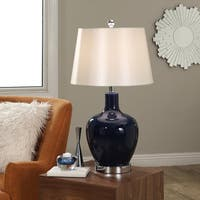 Abbyson Faremont Navy Glass 24-inch Table Lamp