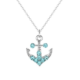 Jewelry by Dawn Sterling Silver Aqua Rhinestone Pewter Anchor Pendant Necklace