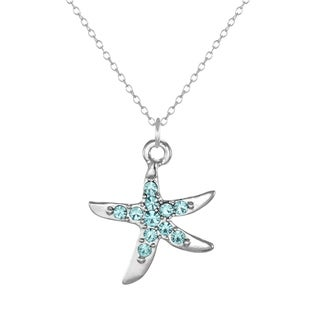 Jewelry by Dawn Sterling Silver Aqua Rhinestone Starfish Pendant Necklace