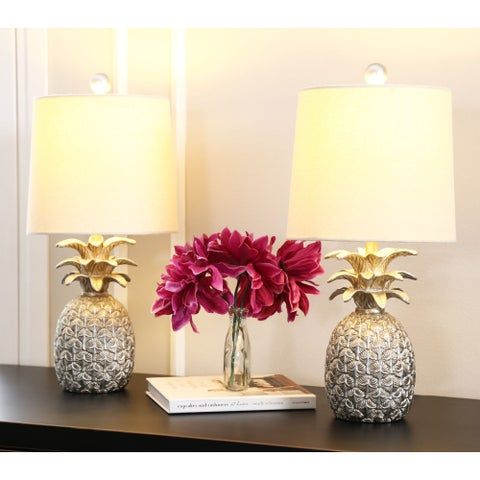 Abbyson Pineapple Silver 18-inch Table Lamp (Set of 2)