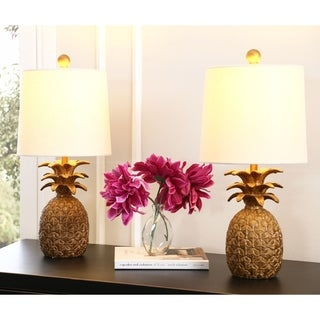 ABBYSON Poly Pineapple Gold Table Lamp (Set of 2)