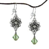Handmade Jewelry by Dawn Pewter Filigree Peridot Green Crystal Dangle Earrings