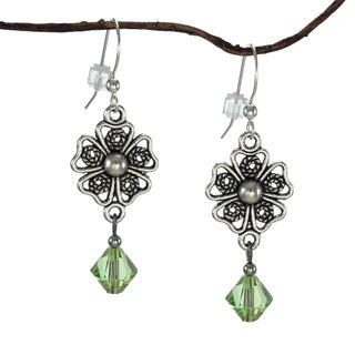 Handmade Jewelry by Dawn Pewter Filigree Peridot Green Crystal Dangle Earrings (USA)