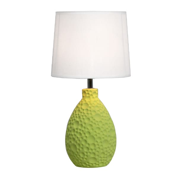 Simple Designs Green Textured Ceramic Oval Table Lamp