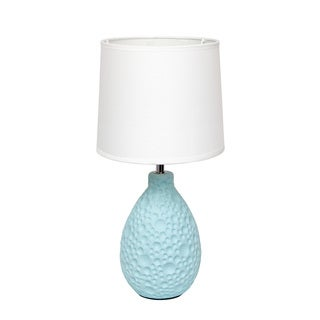 Simple Designs Blue Textured Ceramic Table Lamp