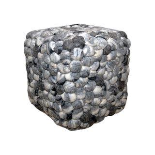 Woolie Square Pebble Grey Pouf Ottoman