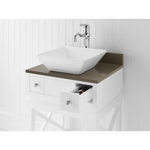 Ronbow Formation White Ceramic Bathroom Vessel Sink