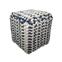 Willa Square Off-White and Grey Button Knotted Wool Pouf Ottoman