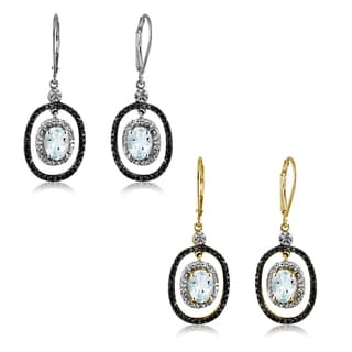 Jewelonfire Sterling Silver 2.30ct TW Aquamarine and White Diamond Accent Earrings