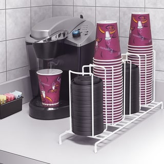 White 4-Sectional Cup and Lid Organizer