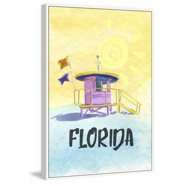 Marmont Hill - 'Always Sunny in Florida 2' Floater Framed Painting Print on Canvas