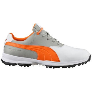 PUMA Ace Golf Shoes White/Vibrant Orange/Drizzle