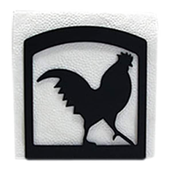 Rooster Black Metal Napkin Holder