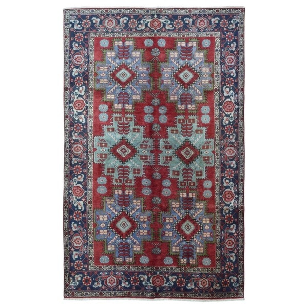 Finerugcollection Handmade Semi Antique Persian Heriz Red Wool Oriental Rug 6 X27