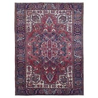 FineRugCollection Handmade Semi-Antique Persian Heriz Red Wool Oriental Rug (9' x 11'9)