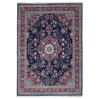 FineRugCollection Handmade Fine Tabriz Navy Wool Oriental Rug - 9'10 x 13'9