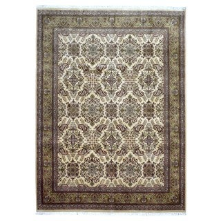 FineRugCollection Hand Knotted Large Fine Peshawar Olive Wool Oriental Rug (8'10 x 11'1)