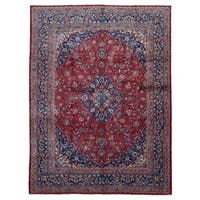 FineRugCollection Handmade Semi-Antique Persian Kashan Red Wool Oriental Rug (9'9 x 12'8)