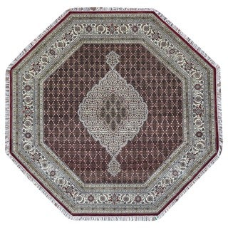 FineRugCollection Hand Knotted Fine Mahi Tabriz Red Wool Oriental Octagon Rug With Silk Flowers (8