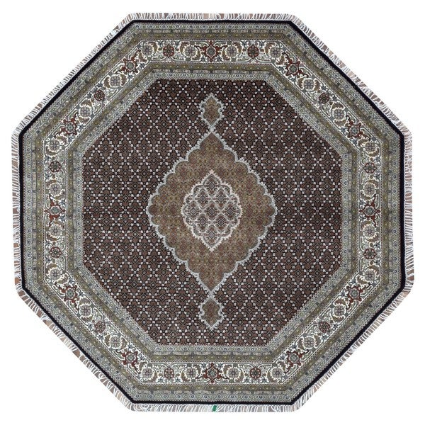 Hand Knotted Persian Tabriz Wool Area Rug Ebth: Shop FineRugCollection Hand Knotted Fine Mahi Tabriz Green