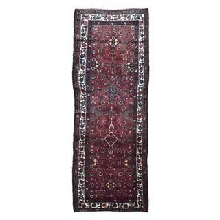 FineRugCollection Handmade Semi-Antique Persian Hamadan Red Wool Oriental Runner (3'2 x 8'8)