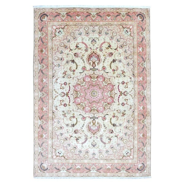 Shop finerugcollection hand knotted extra fine persian tabriz pink finerugcollection hand knotted extra fine persian tabriz pink wool oriental rug with silk flowers mightylinksfo