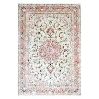 FineRugCollection Hand Knotted Extra Fine Persian Tabriz Pink Wool Oriental Rug With Silk Flowers