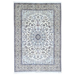 FineRugCollection Hand Knotted Extra Fine Persian Nain With Signature Beige Wool Oriental Rug (6'8