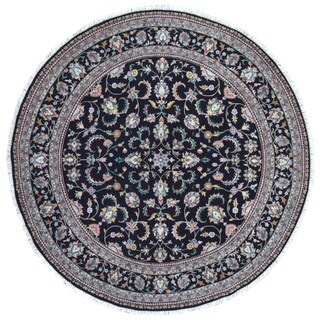 FineRugCollection Hand Knotted Tabriz Black Wool Oriental Round Rug - 9'5 x 9'5