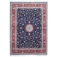 FineRugCollection Hand Knotted Fine Pakistan Tabriz Navy Wool Oriental Rug