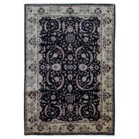 FineRugCollection Hand Knotted Pakistan Peshawar Black Wool Oriental Rug (5'4 x 8'5)